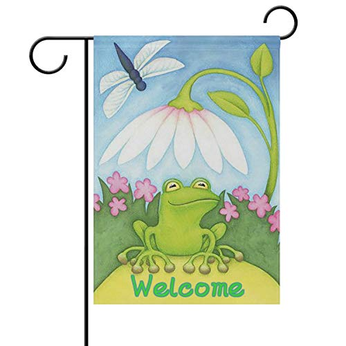 ASKYE Welcome Frog Dragonfly White Lotus Garden Yard Flag Double Sided, Summer Frog Flowers Spring Decorative Garden Flag Banner for Outdoor Home Decor Party(Size: 28inch W X 40inch H) Lotus Flower Dress