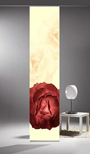 Flächenvorhang Limbo 18 Rose rot beige | Schiebevorhang Größe BxH 57x260cm inkl. Trägerpaneel und Aluklemmleiste