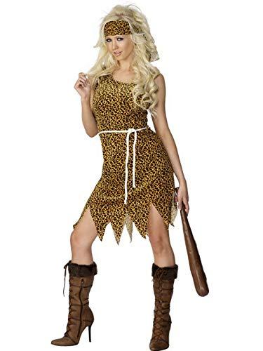 Halloweenia - Damen Frauen Höhlenfrau Neandertalerin Kostüm mit Kleid im Leoparden Look, Gürtel und Haarband, perfekt für Karneval, Fasching und Fastnacht, L, Braun