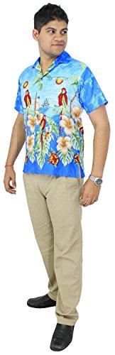 LA LEELA Strand Hawaiihemd Herren XS - 5XL Kurzarm Front-Tasche Hawaii-Print Casual Button Down Hemd Blau Blau