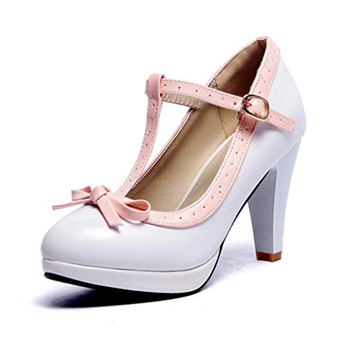 Frauen High Heels Princess Lolita Mary Jane Schuhe Bowtie Damen Sommer Armband Spike Heel Pumps Absatzhöhe 8.5 cm