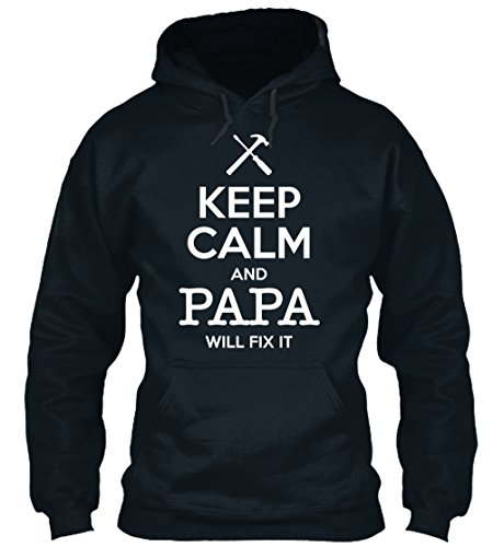 teespring Men's Novelty Slogan Hoodie - Keep Calm and Papa Will Fix It - Grandpa