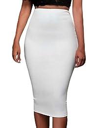 Y-BOA Moulant Tube Jupe Femme Au Genou Blanc Slim Uni Taille Haut Crayon