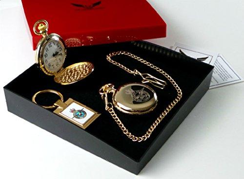 RAF CRESTED Gold Taschenuhr und Schlüsselanhänger Geschenk Set Royal Air Force Militär Geschenke China Tankard