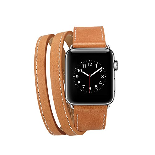 Lohpe Bracelet pour Apple Watch 38mm, Bracelet en Cuir PU avec Boucle en Acier Inoxydable Bracelet en Cuir pour Apple Watch Série 38mm 1/2/3 (E) (16) Lohpe