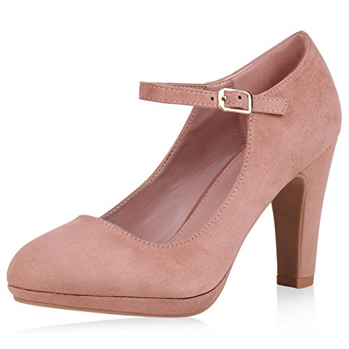 SCARPE VITA Damen Pumps Mary Janes Veloursleder-Optik High Heels Blockabsatz 160330 Rosa - Tabelle Kostüm