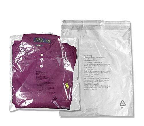 100 transparente Plastiktüten mit Selbstverschluß für Kleidung, Kleidung, Einzelhandel, mit Sicherheitswarnung, 12'' x 15'', farblos
