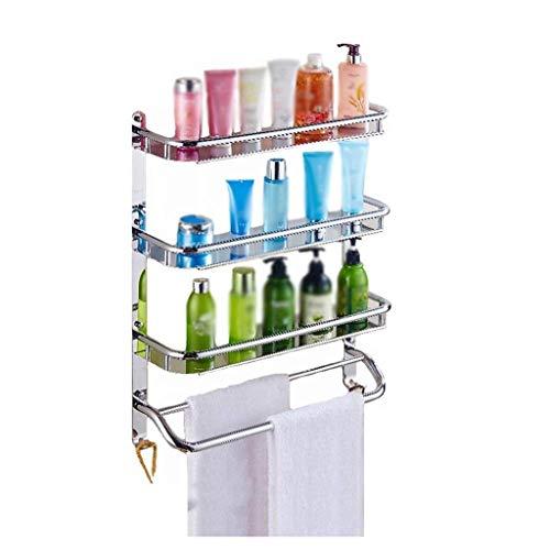 DZHtu 3-lagiger Edelstahl zur Wandmontage mit Hakenablagefach Badezimmer Küchenklappe, Badezimmerregal, Ablagefach Mehrzweck-Metallrahmen (Size : 400mm)
