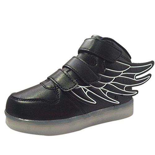 Fortuning's JDS Unisexe Enfant LED éclairé clignotant Sneakers USB Chargeur lumineux Chaussures filature Chaussures avec des ailes Noir