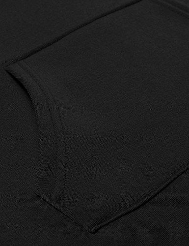 AIMADO Robe Sweat-shirt à Capuche Longue , Pull Manches Longue Casual avec Poche Kangourou pour Femme Printemps Automne Noir