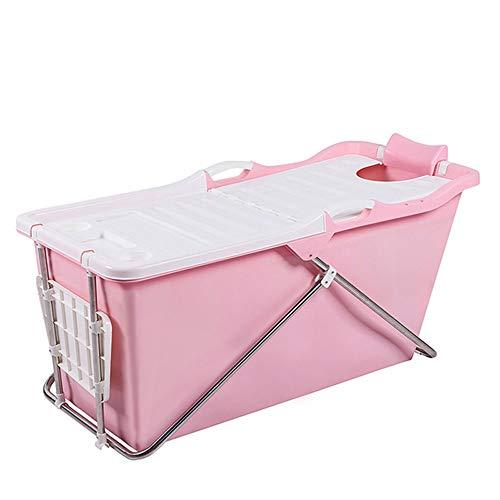 Tragbarer Pool mit gebürsteter Badewanne, große freistehende Badewanne, SPA für Erwachsene/ältere Personen, erweiterte Isolationsabdeckung (Color : Pink) (Schiebetür Pool Sicherheit)