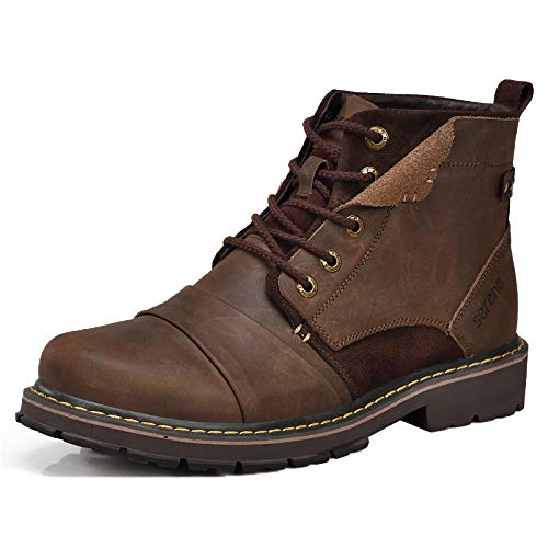 Herren-Stiefel Männer Ankle Boots Vintage Echtes Leder Lace Up Martin Stiefel Lässige High-Top-Armee Stiefel Desert Booties,Brown-43
