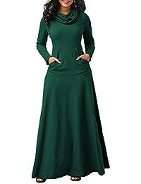 Vestito Dolcevita Donna Moda Pullover Vestiti Autunno Inverno Abito Lungo  Manica Lunga Swing Abiti con Tasche d7434b34f27