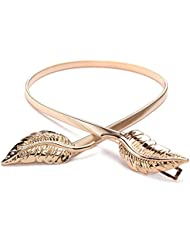 oumosi 2pcs Lady Hojas de metal Cintura elástica cinturón de cintura elástica de aleación de europeos y americanos de la moda Slim Fit dorado