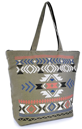Damen Sommer aztec-print Leinwand Design beach-pool-swim-tote-shopping Große Tasche Olive-Patterned