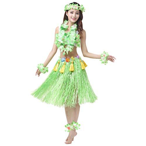Haobing costume per ragazze carnevale gonna hula hawaiana braccialetto cavigliere ghirlanda fascia per capelli di fiori (verde, 8pcs/set)