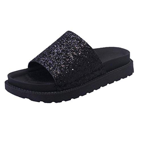 Fuibo Damen Sequins Strand Schuhe flache rutschfeste weiche flache Pantoffel Flip Flop Sandale (39, Schwarz) (Womens Geschlossene Casual Clogs)