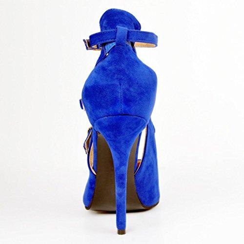 Kolnoo Damen Faschion 100mm Wölbungs Bügel spitze Zehe Absatz Partei Pumpen Schuhe Blue
