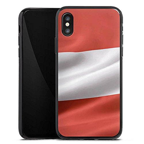 Apple iPhone X Silikon Hülle Case Schutzhülle Österreich Flagge Austria Silikon Case schwarz