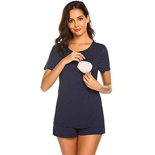 Frauit costumi premaman due pezzi in cotone, camicia da notte allattamento pigiama maternità maglietta allattamento costume gravidanza estate