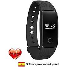 Surwin Pulsómetro Monitor de frecuencia Pulsera de fitness Bluetooth 4.0 Pulsera de actividad, monitor de ritmo cardíaco para iPhone o Android Smartphone (Negro)