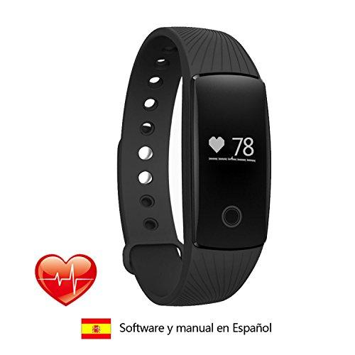 Surwin Pulsómetro Monitor de frecuencia Pulsera de fitness Bluetooth 4.0 Pulsera de actividad, monitor de ritmo cardíaco para iPhone o Android Smartphone