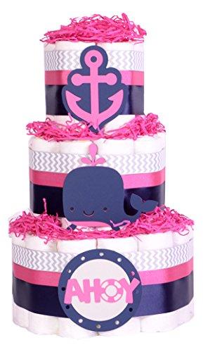 girls-just-contempo-baby-para-panales-para-tartas-de-ducha-azul-marino-rosa-chevron-gris-cesta-de-re