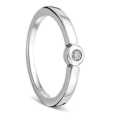 Orovi Ringe Verlobungsring mit Diamant Stein 0.05 crt Damen 925 Sterling Silber Solitärring