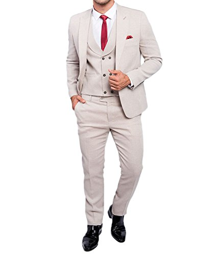 Slim Fit Herrenanzug in Beige/Creme mit Weste