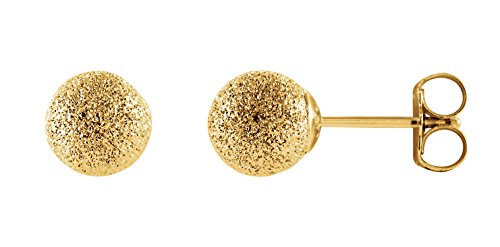 14 K Gelb Gold Stardust Strukturierte rund Ball Post Ohrstecker (6) (Ohrringe Ball Solid Gold 14k Stud)