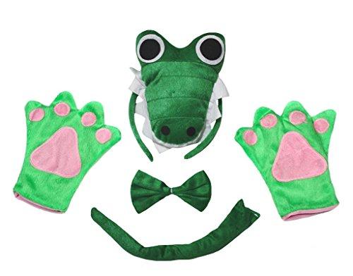Petitebelle 3D Green Crocodile Headband Bowtie Tail Gloves Adult 4pc Costume (One (Krokodil Schwanz Kostüme)