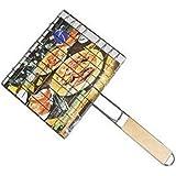 demeuble @ BBQ Parrilla de barbacoa portátil en acero zinqué mango de madera, Grille 1