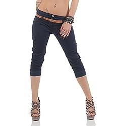 Malito Capri-Pantalones con imitación de Cuero cinturón 5398 Mujer (S, Azul Oscuro)