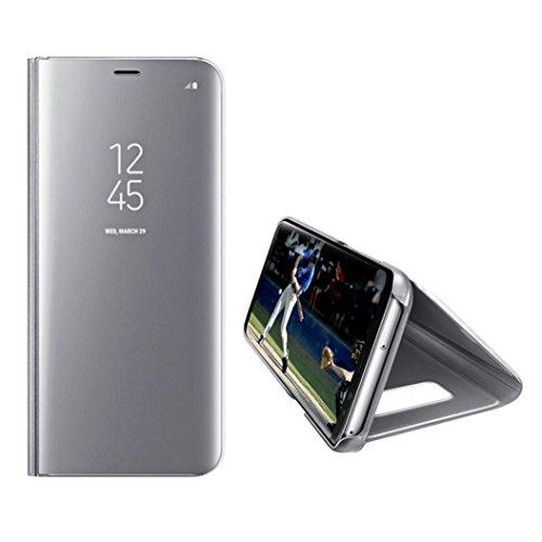 Preisvergleich Produktbild Ouneed® Für Samsung Galaxy S7 Edge Hülle ,  Geschenk glitzer Luxury Smart window Sleep Wake UP Flip Leather Case Cover für Samsung Galaxy S7 Edge (Silber)