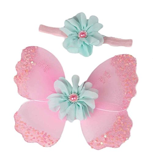 Ouneed® Neugeborene Baby Mädchen Schmetterling Flügel Kostüm Foto Fotografie Stütze Outfits (Rosa) (Schmetterling Outfits Für Babys)