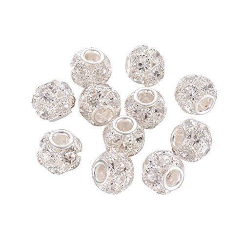 mm Grade A Strass Pavé-Fassung Kristall Messing Perlen Europäisch Charms Rondelle Perlen passend für Armbänder Schmuckherstellung, Silber ()