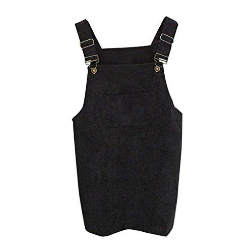 Cord-jeans-rock (Kanpola Kleider Damen Herbst Cord Straps kurze Tasche gerade Weste Rock Kleid)