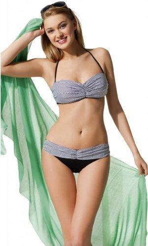 Damen Bandeau Bikini Set ohne Bügel, mit anpassbaren und abnehmbaren Neckholder-Trägern, Halbgürtel mit Rüschen, italienischer Stoff Weiß und Schwarz Gesprenkelt