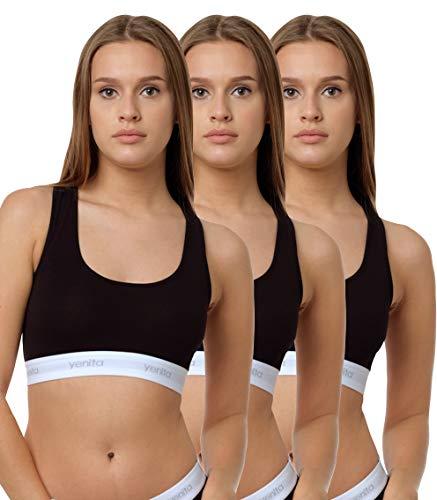 Yenita 3er Set Damen Underwear Modern-Sports-Collection, Bralette, Cotton-Bustier, Schwarz, Gr. S