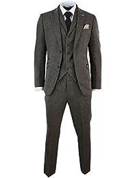 Herrenanzug 3 Teilig Braun Blau Wollenmischung Fischgräte Tweed Design Vintage