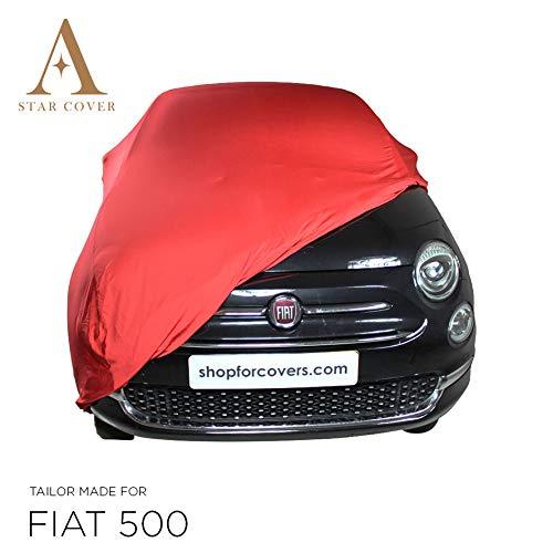 AUTOABDECKUNG ROT KOMPATIBEL MIT FIAT 500 Cabrio INNEN SCHUTZHÜLLE ABDECKPLANE SCHUTZDECKE VOLLGARAGE Cover