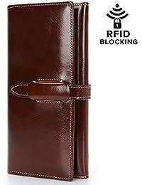 Monederos Mujer Carteras de Cuero Genuino Gran Capacidad RFID Bloqueo Cera de Lujo Piel Genuina Hecho a Mano Bolsos Largo de Mujer con Cremallera de Bolsillo (Empaquetado con Caja de Regalo)