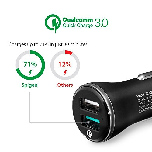 Quick Charge 3.0 Chargeur Voiture, Spigen Essential [QC 3.0 + 5V/2.4A 12V/9V/5V] Chargeur Voiture USB Rapide Compatible avec Galaxy S8, Google Pixel, Galaxy Note 8, iPhone X/8/7 Car Charger - F27QC