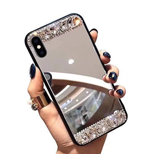 Obesky Glitzer Spiegel Hülle für Galaxy A70, Luxus Bling Diamant Strass Handyhülle Ultra Dünn Hart PC Zurück + Weich TPU Silikon Schutzhülle Anti-Scratch für Samsung Galaxy A70 -