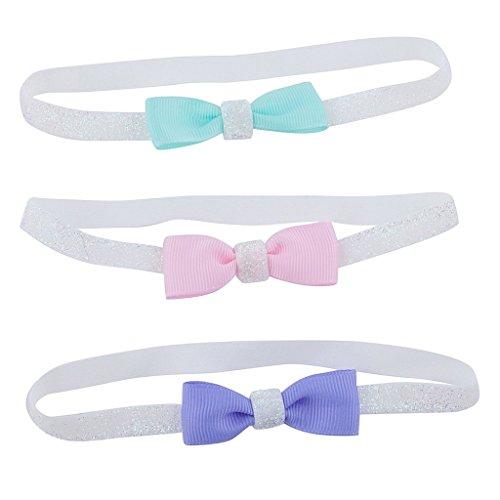 LUX accesorios con purpurina lazo de accesorios para el pelo bebé diadema (3unidades)