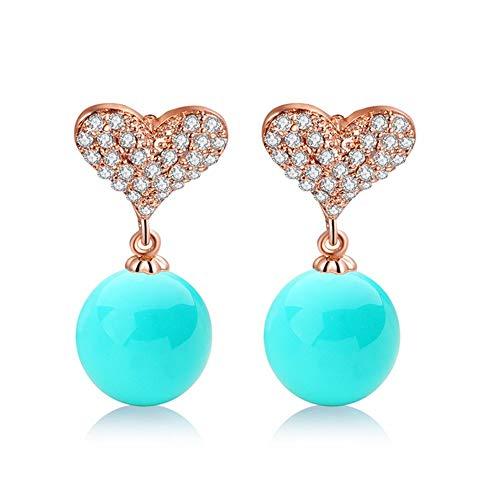 Fgtyj orecchini decorati con pietre di zirconio conchiglie a forma di cuore orecchini a bottone accessori squisiti regali bianco
