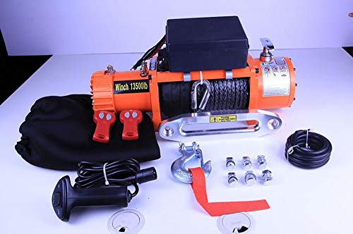 Awsgtdrtg Treuil électrique DC 12v 13500 lbs avec câble métallique Câble Et Double Contrôle sans Fil Crochet De Contrôle Sangle Bateau Marine Caravane Grue Remorque Remorque