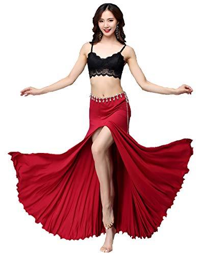 Arabische Rote Kostüm - Bollywood rot schwarz asiatisch arabisch Jasmin sexy Bauchtanz lange Maxi Mädchen Rock Kleid Kostüm BH Top Phantasie Frauen Outfit (Rot & Schwarz, L (Büste 60-73cm, Taille 60-85cm, Rock 92cm))