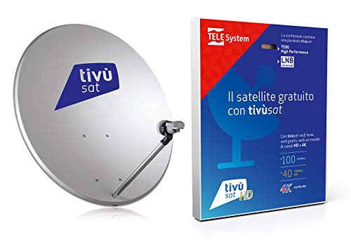 KIT SATELLITARE COMPLETO TIVU' SAT PARABOLA 80 CM +DECODER+TESSERA+LNB+CAVO E ACCESSORI