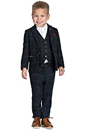 Marc Darcy Boys Navy Tweed Check Suit for Kids Prom Party Or Page Boy Slim Fit